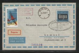POLAND 1966 2ND NATIONAL GLIDING CHAMPIONSHIPS COMM BOCIAN GLIDER FLOWN AIRMAIL COVER ELBLAG J RECEIVER CINDERELLA STAMP - Vliegtuigen