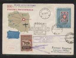 POLAND 1960 10TH GLIDER FLIGHT FLOWN COVER T3 100 YRS POLISH STAMP LESNO 1(k) GNIEZNO(aa) CDS BROWN OLYMPICS CINDERELLA - Airmail