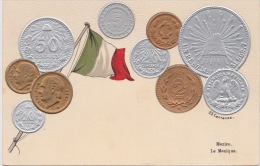 Mexico - Embossed Postcard With Different Coins And Flag - Coins (pictures)