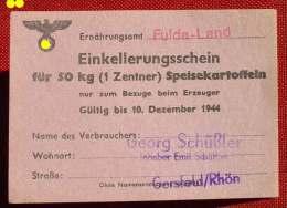 (1045947) Gutschein. Einkellerungsschein Speisekartoffeln. Deutsches Reich 1944. Format Ca. 10,5 X 7,5 Cm. Gut Erhalten, - [ 4] 1933-1945 : Troisième Reich