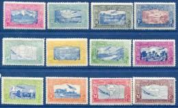 Aeroplane, Aviation, Map, Mountain, MNH Set Of 12, Nicaragua - Spazio