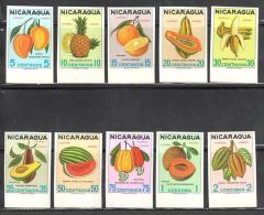 Nicaragua, Imperf Set Of 10, Fruits, Mango, Banana, Avocado, Watermelon, Pineapple, Papaya, MNH, Extremely RARE - Food