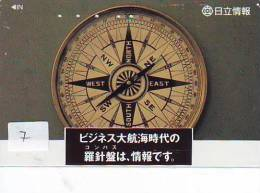 Compass Boussole Kompaß Kompas Sur Telécarte JAPAN (7) East West South North - Astronomie