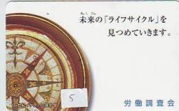 Compass Boussole Kompaß Kompas Sur Telécarte JAPAN (5) East West South North - Astronomie