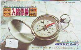 Compass Boussole Kompaß Kompas Sur Telécarte JAPAN  (3) East West South North - Astronomie