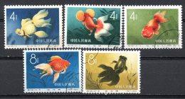 China Chine : (6020) S38-1,3,4,5,6(o) Poissons D´or  SG1911,1912/5 - Oblitérés