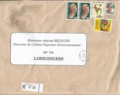 Cote D´Ivoire 2003 Abidjan Scupture Lottery Ancistrochilus Flower Internal AR Registered Cover - Ivoorkust (1960-...)