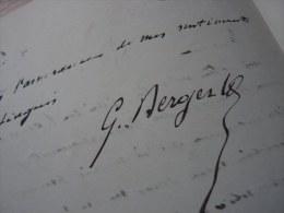 Georges BERGER (1834-1910) - Député De La SEINE - Exposition Universelle PARIS 1900. - Autographe - Autographes