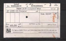 Ticket De Train. Maroc. (Voir Commentaires) - Chemins De Fer
