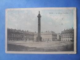 75-PARIS La Place Et Colonne Vendome , écrite Au Verso Et Circulée En 1912 , 2 Scans - Places, Squares