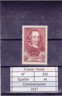 1937 -  N°335 Xx - Unused Stamps