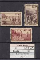 1937 -  N°345 à 347 Xx - Unused Stamps