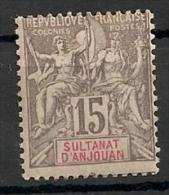 Anjouan (comores). 1900. N° 15.  Neuf * MH - Benin (1892-1894)