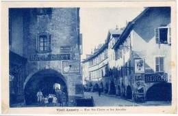 Vieil Annecy - Rue Ste-Claire Et Les Arcades (pubs Murales Anis Berger, Biscuits Lu, Visseaux) - Annecy