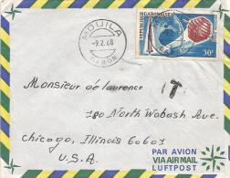 Gabon 1968 Mouila Space Satellite Rocket Underfranked Cover - Brieven & Documenten
