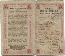 CARNET INDIVIDUEL D'ALIMENTATION - SUCRE - 2ème  Semestre 1919 - Old Paper