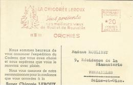 Lettre Flamme EMA  Chicorée Leroux Voeux Noel  Sapin    Alimentaire  Thematique 59 Orchies 30/41 - Marcophilie (Lettres)