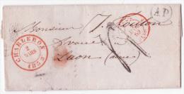 L. Càd CHARLEROY/1852 + Boîte Rurale AP De DAMPREMY Pour La France - 1830-1849 (Belgique Indépendante)