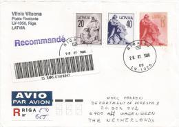 Latvia 1998 Riga Statue Barcoded Registered Stationary Cover - Letland