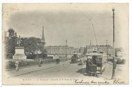 CPA Précurseur -ROUEN -LA STATUE DE CORNEILLE ET LE PONT DE PIERRE -Seine Maritime (76) -Circulé 1903 -Animée - Rouen
