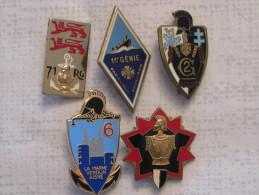 Lot De Cinq Insignes Génie - Armée De Terre