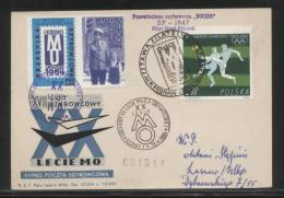 POLAND 1964 XVII GLIDER FLIGHT 20 YEARS MILITIA POLICE SERVICE TO NATION PHILATELIC EXPO FLOWN CARD T1C CINDERELLA - Cinderellas