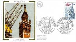 LETTRE FRANCE DUNKERQUE PREMIER JOUR D'ÉMISSION HOTEL DE VILLE - Postmark Collection (Covers)