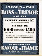 PUBLICITE BONS DU TRÉSOR BANQUE DE FRANCE - Plaques Publicitaires