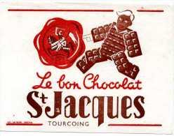 PUBLICITE BUVARD CHOCOLAT SAINT JASQUES TOURCOING - Piles