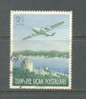 1950 TURKEY 2.5 LIRA AIRMAIL STAMP AIRPLANE USED - 1921-... Repubblica