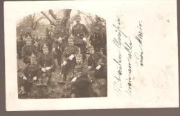 CARTE PHOTO ALLEMANDE MILITAIRE CASQUE A POINTE EQUIPEMENT JUMELLE ECRT TUBINGEN 1912  VOIR SCAN - Oorlog 1914-18