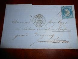 II_26_lettre De Rennes Variété A Etudier,réexpediée - 1849-1876: Classic Period
