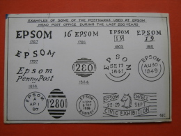 29716 PC: SURREY: Examples Of Some Of The Postmarks Used At EPSOM HEAD POST OFFICE During The Last 200 Years. - Surrey