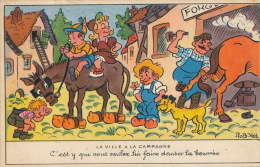 ENFANTS - HUMOUR - Jolie Carte Fantaisie Enfants Avec âne En Sabots Cheval Chien Maréchal Ferrant Signée ROB VEL - Kindertekeningen