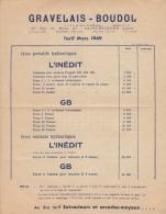 PUBLICITE  TARIF L'INEDIT  GRAVELAIS BOUDOL SAINT ETIENNE LOIRE CRICS EXTRACTEURS 1949 - Publicités
