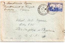 Lettre De Montferrand De Périgord à Lexington (USA=) 20 Aout 1940 Via Lisbonne Par Clipper Timbre YT 458 - Marcophilie (Lettres)