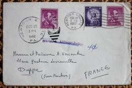 Enveloppe Affranchie Pour Dieppe Oblitération Newton Square USA Returned To Additional Postage - Storia Postale