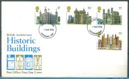 GB - FDC 1.3.1978 - HISTORIC BUILDING - Mi 760-763 Yv 859-562 SG 1054-1057 - Lot 9207 - 1971-1980 Em. Décimales