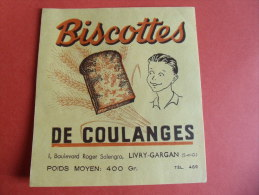 De Coulanges Livry Gargan Biscottes  Publicite Pas Buvard - Non Classificati