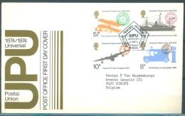 GB - FDC 12.6.1974 - CENTENARY OF UPU EDINBURGH SPECIAL ISSUE POSTMARK - Mi 650-653 Yv 725-728 SG 954-957 - Lot 9209 - 1971-1980 Em. Décimales