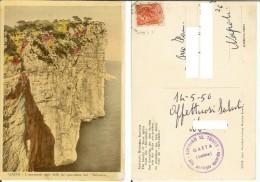 Gaeta (Latina): L´imponente Mole Delle Tre Spaccature Dal Belvedere. Cart. B/n Acquerellato Vg 1956 Santuario SS Trinità - Latina