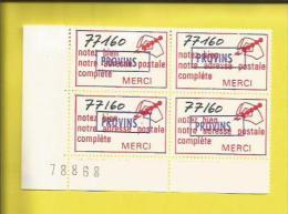 ERINOPHILIE PROVINS  Bloc De 4 Vignettes Avec N°  Sur La Partie Gauche Pour Indiquer La Bonne Adresse Postale(  1970) - Toerisme (Vignetten)