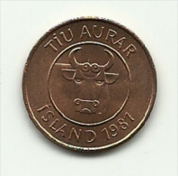 1981 - Islanda 10 Aurar, - Iceland
