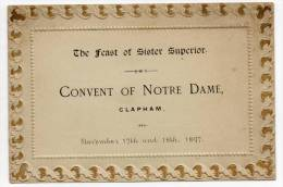 26717  -    Convent  Of  Notre Dame - Clapham  - The Feast  Of  Sister  Suiperior  1897 - Programme - Surrey