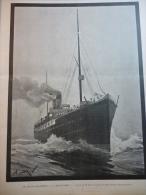 """Le Transatlantique """" La Bourgogne """" , Gravure D'aprés Dessin De Brun 1898 - Documents Historiques"""