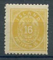 Iceland 1873. - Mi. No. 5B, 16 Sk. Hinge. Interesting, As-scan. - Neufs