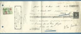 BELGIO  Ets VAN GENECHTEN - CAMBIALE CON FIRMA AUTOGRAFA   MARCA DA BOLLO E VALORI POSTALI COME FISCALI - 1931 - Documenti Della Posta