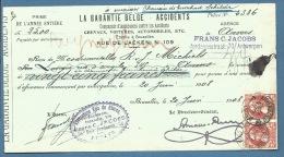 BELGIO  ASSICURAZIONE LA GARANTIE BELGE - ACCIDENTS CON VALORI POSTALI COME FISCALI - 1931 - Documenti Della Posta