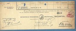 BELGIO  RICEVUTA  CON VALORI POSTALI COME FISCALI - 1939 - Documenti Della Posta