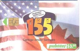 TARJETA DE EL SALVADOR DE 155 (PUBLITEL) BANDERA USA Y CANADA - El Salvador